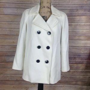 Talbots womens size 6 white button down coat